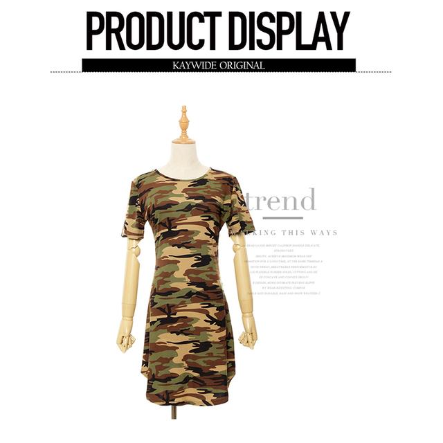 Fashion Women Summer Dress Short Sleeve Sexy Mini Dresses women Green Camouflage Print Woman