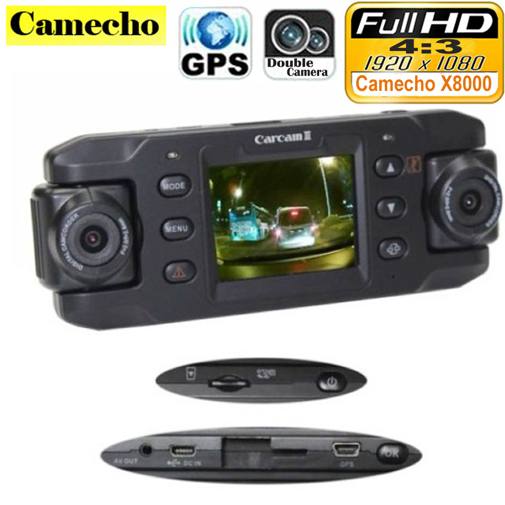 dual lens car camera x8000 with gps full hd 1080p g sensor dual 180 degree rotating lens vehicle. Black Bedroom Furniture Sets. Home Design Ideas