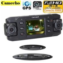 Lente Dual Cámara Del Coche X8000 con GPS Full HD 1080 P g-sensor doble lente giratoria de 180 grados Del Vehículo DVR Grabador Dash Cam CA365