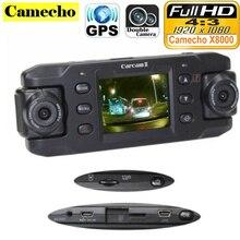 Podwójny Obiektyw Samochód X8000 z GPS Full HD 1080 P g-sensor podwójny 180 stopni obrotowy obiektyw Rejestrator DVR Pojazdu Dash Cam CA365