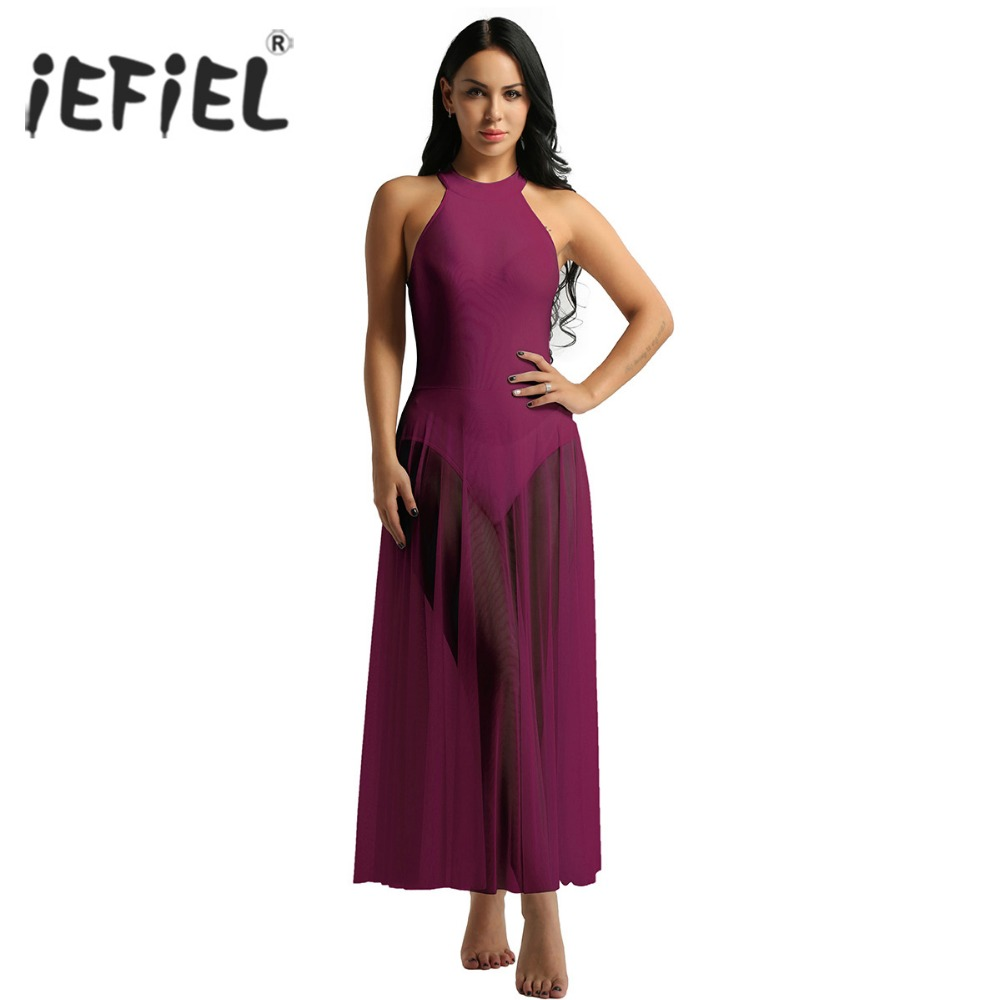 iEFiEL Womens Adult Sleeveless Mock Neck Gymnastics Leotard Bodysuit Ballerina Ballet Dance Dress with Mesh Maxi Skirt