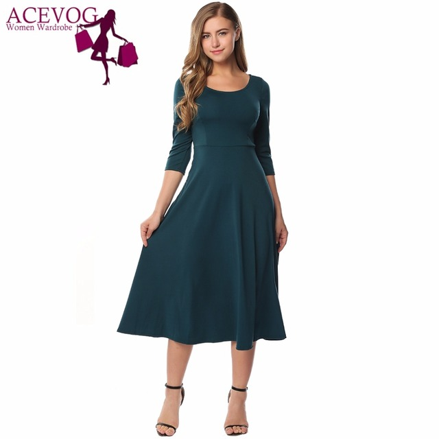 ACEVOG Women Midi Dress Autumn Vintage Style 3 4 Sleeve Solid High Waist Round  Neck Fit and Flare Party Midi-Calf Ladies Dresses 6beb142df503