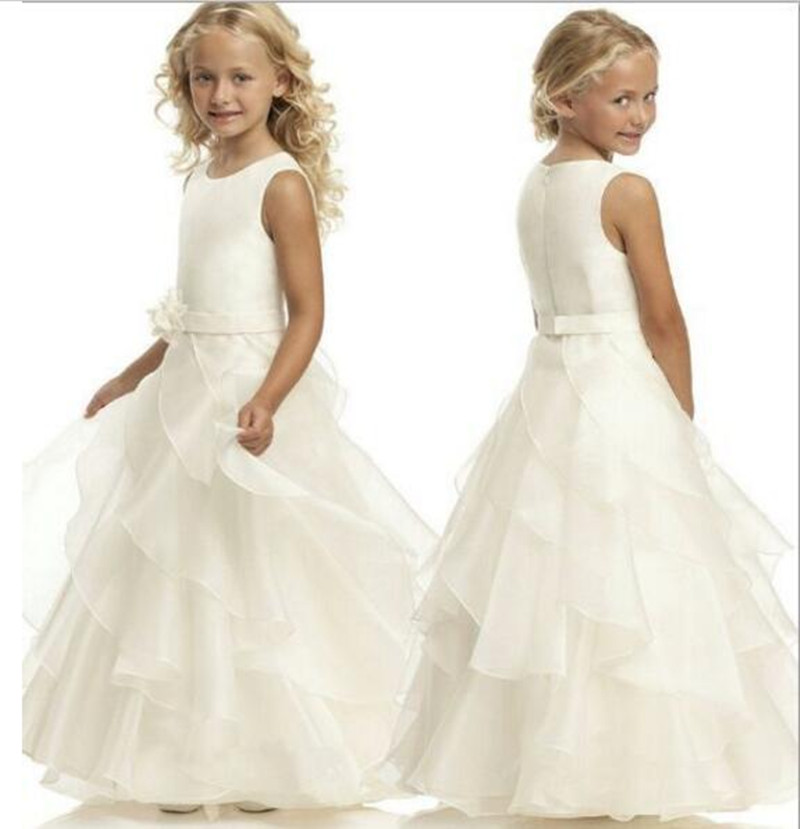 New White Ivory Girls First Communion Dress Birthday Gown O Neck Solid Sleeveless Flower Girls Dresses for Wedding Pageant Gown simple style sleeveless plunging neck see through solid color dress for women