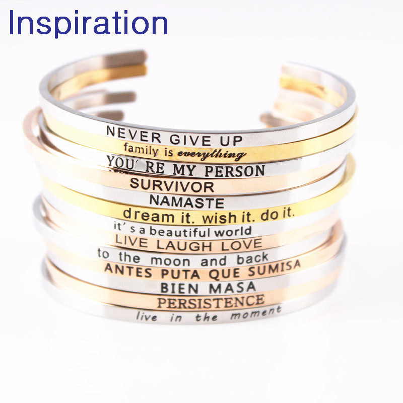 Bracelets & Bangles Bangles Rapture 2018 Hottest Quotes Mantra Bracelets 316l Stainless Steel Open Cuff Bangle Fashion Women Female Inspirational Jewelry Bracelet