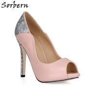 Sorbern Rose Nouvelle Arrivée 2018 Chaussures Femmes Peep Toe Argent Glitter Dames Pompe Talons hauts Escarpins Plateforme Sexy Hauts Talons