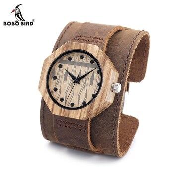 BOBO BIRD V-D04 Восьмиугольные деревянные часы женские Роскошные Кварцевые часы крутые женские кожаные Наручные часы в подарочной коробке