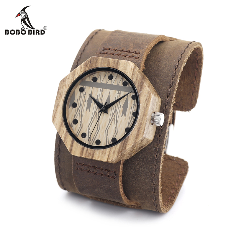 BOBO BIRD V-D04 Octagon Wooden Watches Women Luxury Quartz Clock Cool Lady Dress Leather Wristwatch In Gift Box