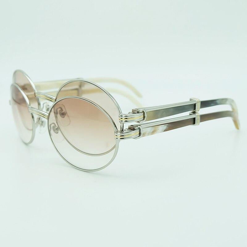 Овальные пестрые солнцезащитные очки с рогом буйвола для мужчин Carter мужские солнцезащитные очки с металлическими черно белыми буфами Роск...