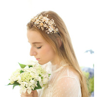 Classic Luxury Gold Rhinestones Crystals Freshwater Pearls Flower Wedding Tiara Headband Bridal Headpiece Hair Accessories