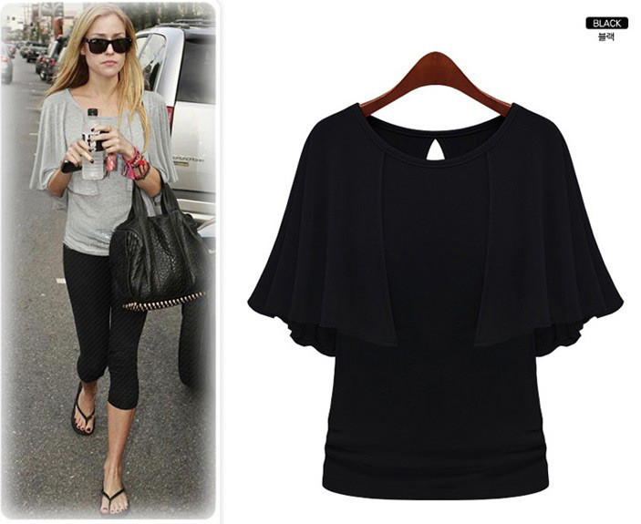 Oxiuly New Summer Solid Fashion Cloak O-Neck Women Cotton Blend Slimming Stretchy Tops Loose Casual T-Shirt Plus Size M-5XL 6
