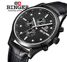 Switzerland men's watch luxury brand Wristwatches BINGER Quartz full stainless leather strap steel waterproof 100M BG-0402