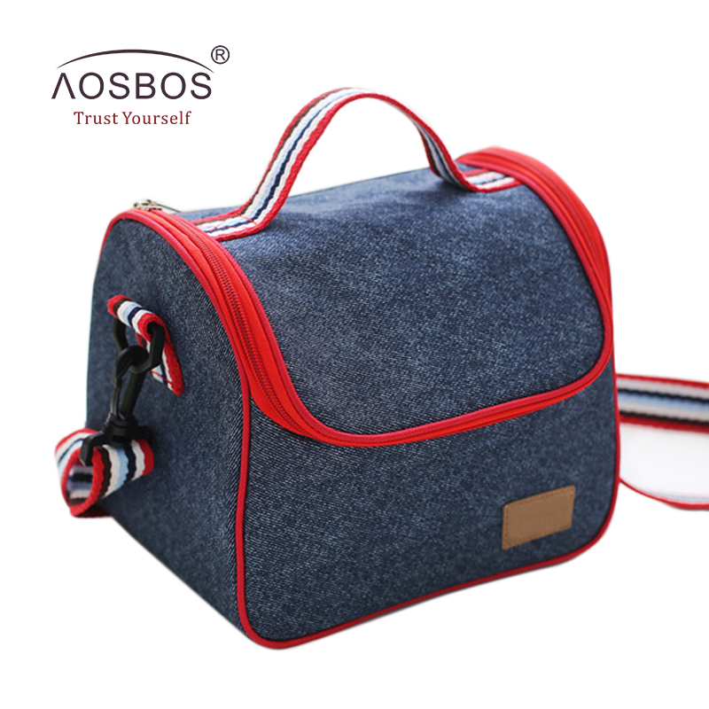 Aosbos Fashion Women Insulated Oxford Lunch Bag Cotton Denim Blue Portable Thermal Lunch Box for Kids Food Cooler Bags Tote aosbos oxford insulated lunch bags for women kids portable grey thermal lunch bag box men food picnic bento cooler bag tote