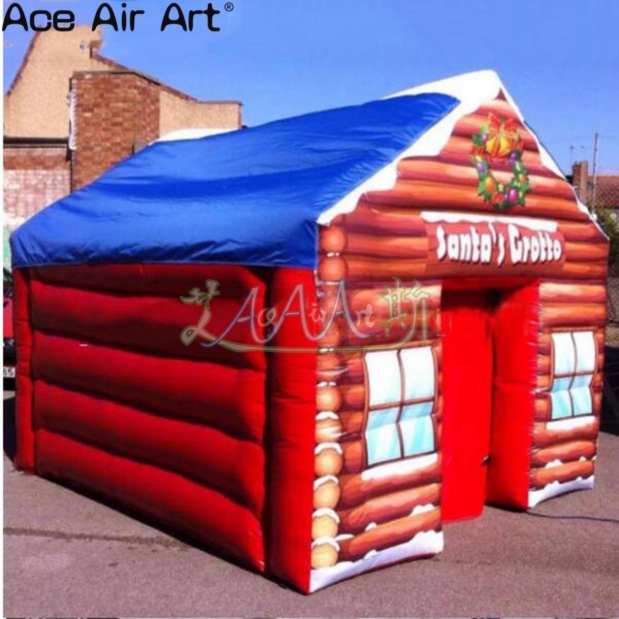 Tente gonflée rouge de haute qualité de maison, tente gonflable de grotte de santa de décoration de noël pour noël