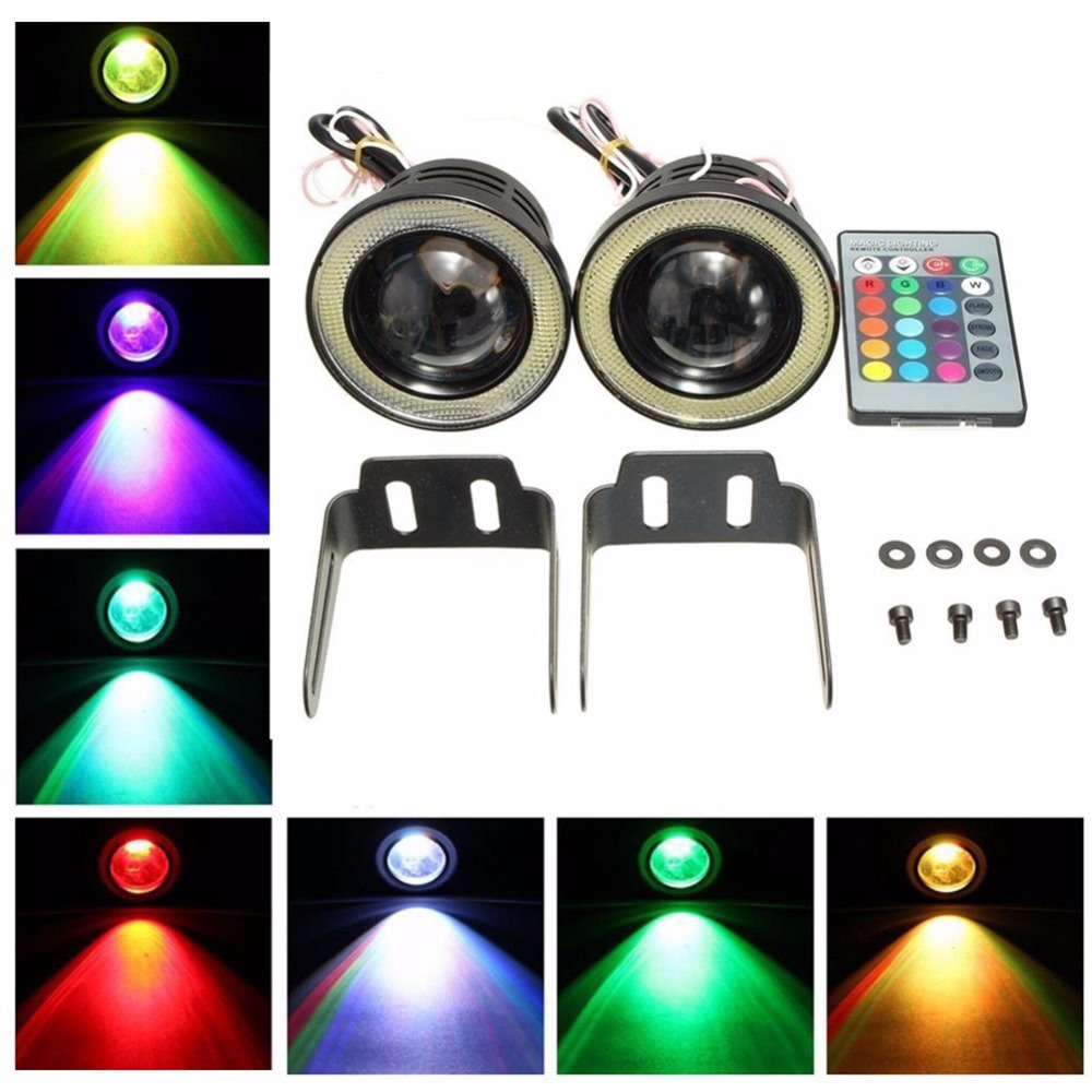 Katur 2pcs Universal RGB LED Fog Light Lamps Car Daytime Running Lights DRL Colorful COB Angel Eyes 3 inch 76mm Wireless Control 4in1 daytime running light 12v 12w led car emergency strobe lights drl wireless remote control kit car accessories universal