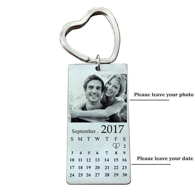 In Acciaio Inox Personalizzata Photo KeyChain Calendario Engravable ID Dog Tag Pendente di Fascino Della Catena Chiave Dropshipping
