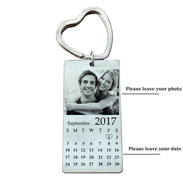 Stainless Steel Custom Photo Calendar KeyChain Engravable ID Dog Tag Charm Pendant Key Chain Dropshipping