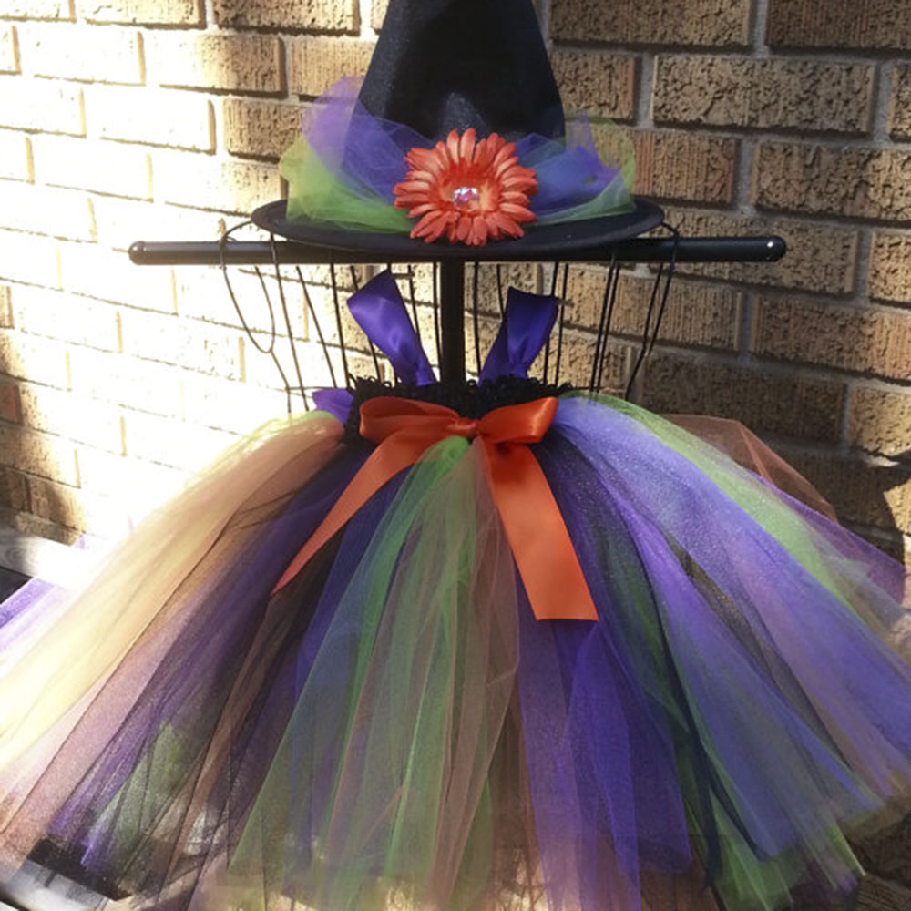 Halloween Witch Cosplay Tutu Dress With Wizard Hat Purple Ribbons Tea Length Party Bow-knot Dresses devil may cry 4 dante cosplay wig halloween party cosplay wigs free shipping