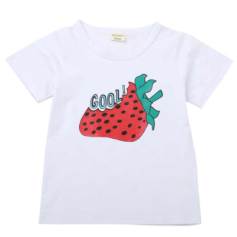 Meninas do bebê Verão Camisetas 2019 Marca Crianças camisas de T para Meninas Roupas Morango Manga Curta Camisas Dos Miúdos