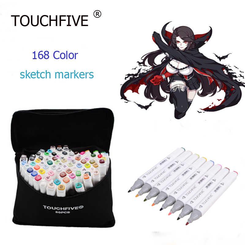 Touchfive 80 di Colore Marcatori Disegno Materiale a Base di Alcool Marcatori Pennarello di Colore Set di Pittura Rifornimenti di Arte Della Penna per La Scuola