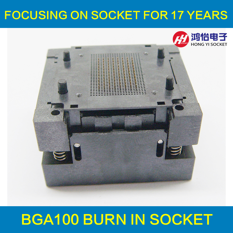 BGA100 Burn in Socket BGA100 Adapter IC Test Socket For BGA Reading Programmer Adapter Programming Socket Open Frame Structure bga series socket burn in test and programming test for bga package ic chips by this link can help you find right bga adapter