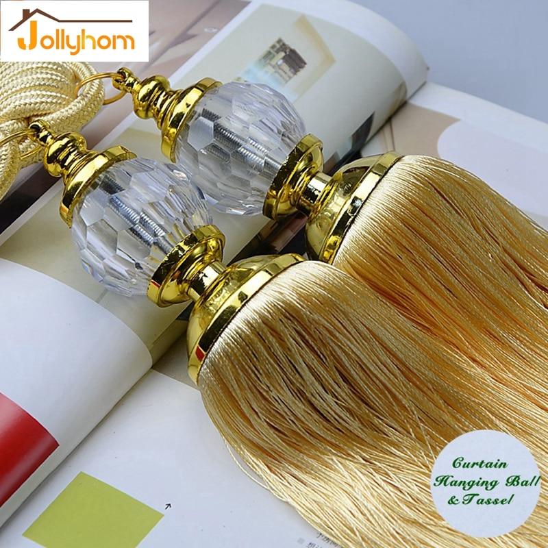 Crystal curtain beads polyester tassel tieback curtain for Decor 9 iball
