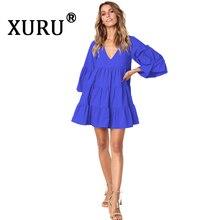 цена на XURU new V-neck solid color women's loose dress men's cotton pile sleeves irregular fashion casual dress black wine red dress