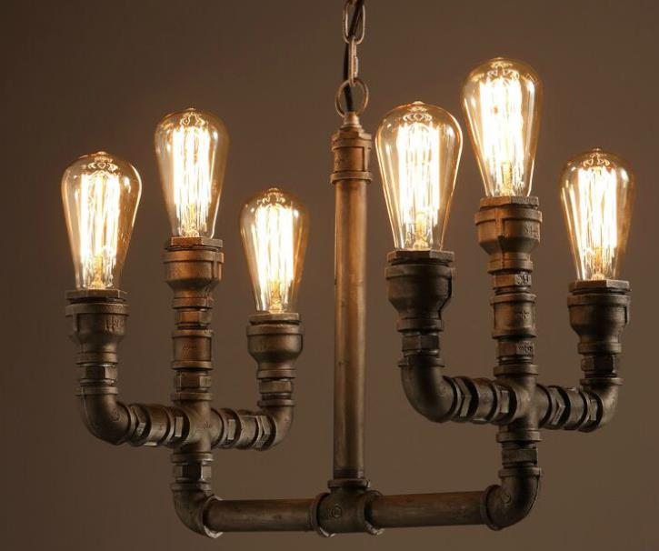 6 Heads American Country Vintage Iron Pendant Lamp Industrial Water Pipe Light Creative Dining Room Bar