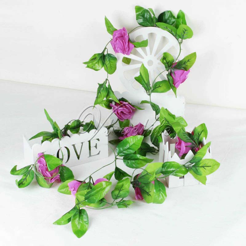 2Pcs 2.2m Artificial Flowers Silk Flower Rose Ivy Vine Hanging Planter For  Wedding Party Garland