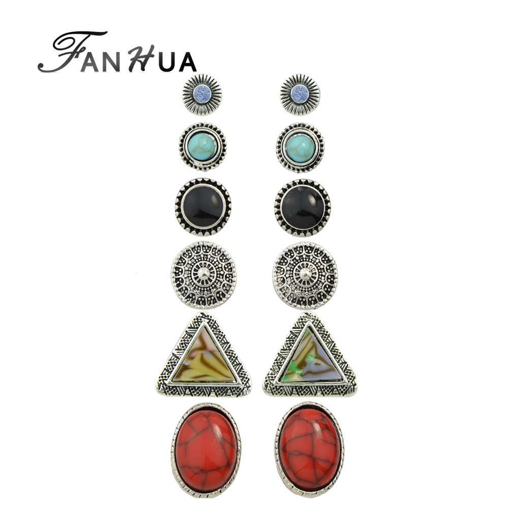 Set Boho Earrings Antique Silver Color With Rhinestone Red  Blue Stone Cute Round Triangle Stud Earrings Sets