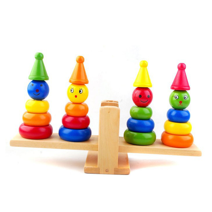 Chanycore Learning Educational Wooden Toys Baby Rainbow Tower Balance Seesaw Circle Geometric Shape Blocks Column Kid Gift 4172 baby toys montessori wooden geometric sorting board blocks kids educational toys building blocks child gift