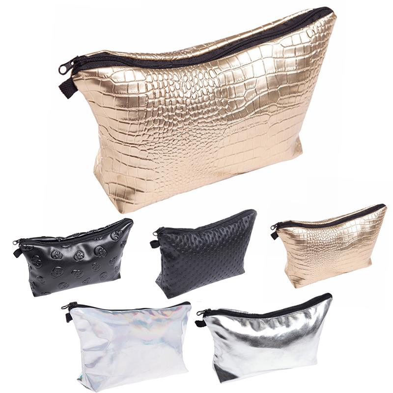 New Embossed Waterproof PU Leather Makeup Bags Purse Wash Bag Organizer Pouch Pencil Case Container Pouch Toiletry Kit Bag
