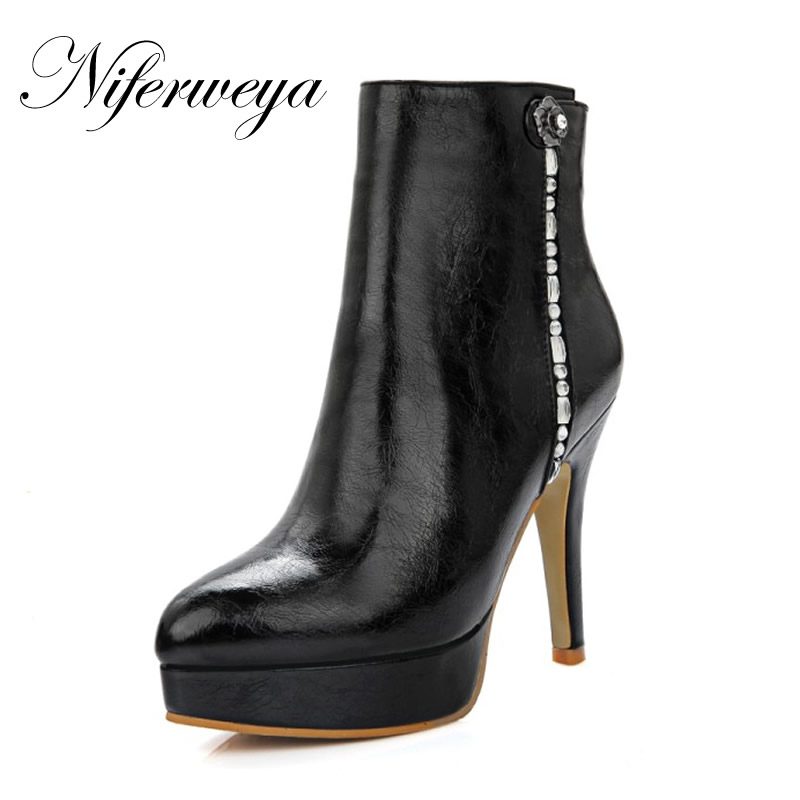 Sexy Platform high heels big size 32-46 winter women shoes fashion Pointed Toe Rhinestone decoration Ankle boots zapatos mujer fashion pointed toe lace up mens shoes western cowboy boots big yards 46 metal decoration page 10