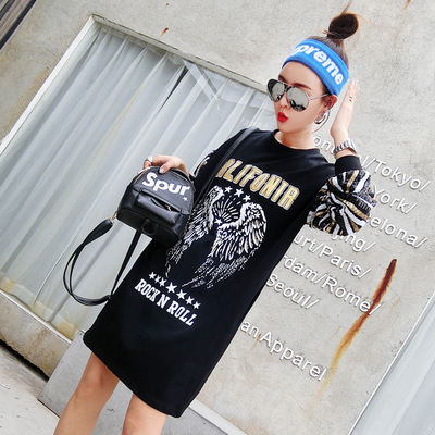 2018 European station spring new wing print mid-long T-shirt sequin sleeve loose large size T-shirts cool new fashion girl cloth