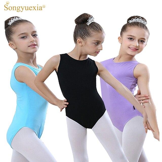 Songyuexia гимнастики без рукавов балетные трико для девочки балетные костюмы Детские Боди для балерины Танцевальная Одежда балетный комбинезон