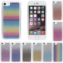 Colorful luxury High Gradient rainbow glitter TPU case for iphone 7 for iphone7 cover skin protector shell phone back Bling(China)