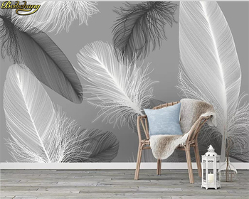 beibehang Custom wallpaper 3d mural modern nordic feather background wall papers home decor papel de parede 3d wallpaper wellyu custom wallpaper 3d nordic modern minimalist white feather living room tv background wall papel de parede 3d wallpaper