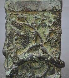 Oznaczone stare chińskie czysta brąz Plum kwiat ptak Sroka szczotka pot ołówek wazy w Posągi i rzeźby od Dom i ogród na