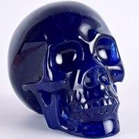 Исцеление черепа фигурка 5 дюймов 1148 г синий Стекло Pacific подарок ручной работы статуя камнерезного ремесло Исцеление Рейки дома декор