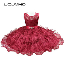 2017 Floral Sleeveless Girl Dresses for Party and wedding Children Wafer Sashes Lace Dress Girls Princess Dress 3-12 year