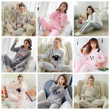 Women Pyjamas Sets pajamas Sleepwear Suit Thick Warm Coral Flannel nightgown