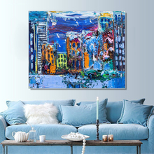 Laeacco Abstract Canvas Painting Nordic Artwork Graffiti Building Posters and Prints Wall Pictures for Living Room Home Decor