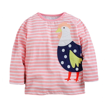 1-6Y Retail Kids t-shirts Roupa Infantil Long Sleeve Girl T Shirt Children Clothing Wear Butterfly Flower Top M50533 Mix