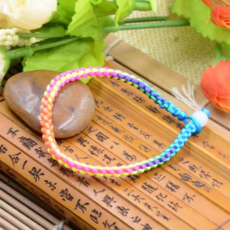 Fashion Black Couple 1PC Adjustable Graceful DIY Allergy Free Red Lucky Coffee Colorful Unique   Arrival Knit Bracelet Handmade