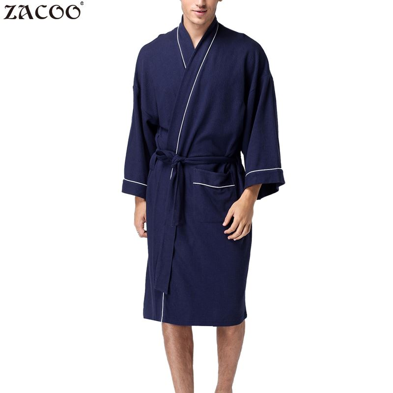 Robes Generous Zacoo Mens Shawl-collar Coral Flannel Bath Robe Winter Autumn Casual Nightgown Long Bathrobe Men Sleepwear Robes Men's Sleep & Lounge