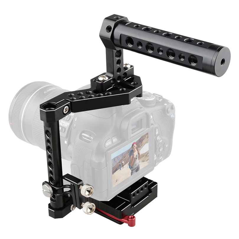 CAMVATE DSLR Camera Cage + Top Handle For Sony A7II/A7SII,Canon EOS 650D 550D,NIKON D330,Panasonic GH3/4/5 Fujifilm X-T2 C1527 professional aluminum dslr camera movie making video cage with 15mm rod system for canon nikon sony pentax olympus panasonic