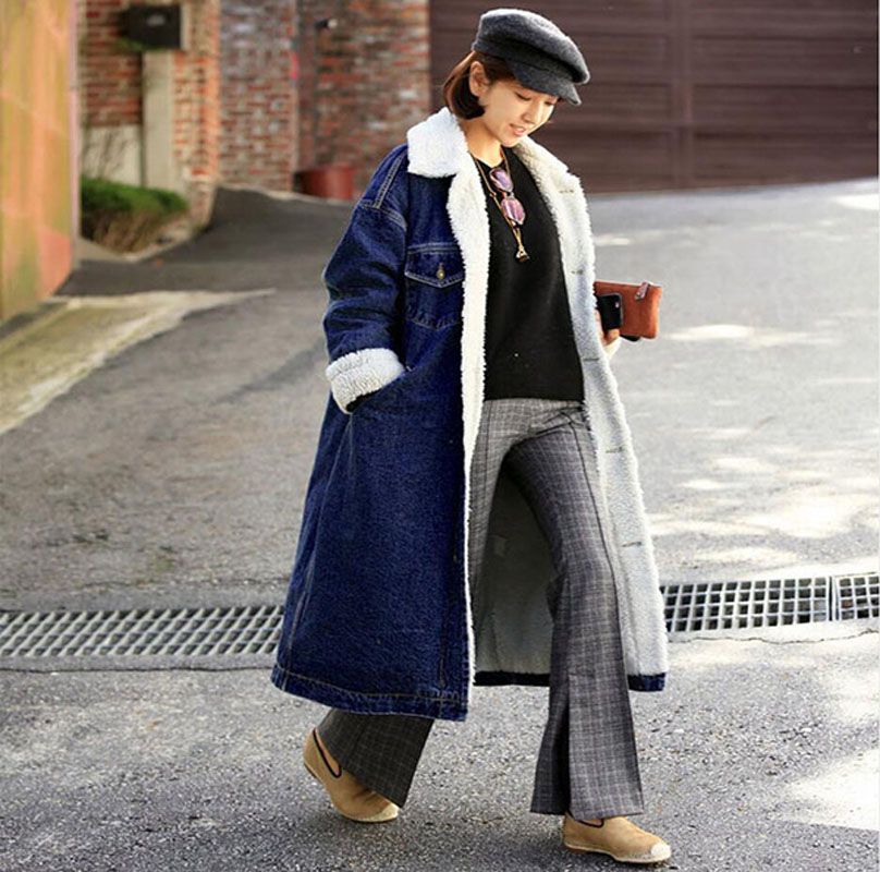 Autumn Winter Long Jean Jacket Women Causal Loose Long Sleeved Fleece Liner Warm Outerwear Ladies Vintage Denim Coat   Parkas