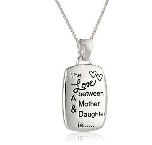 Mother Day Engraved Rectangular Pendant Chain Necklace