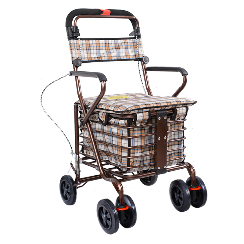 Folding Portable Shopping Cart Can Be Pushed or Sit For for Old Man load 150KG Trolley Four Wheel Rolling Steel iron /Oxford