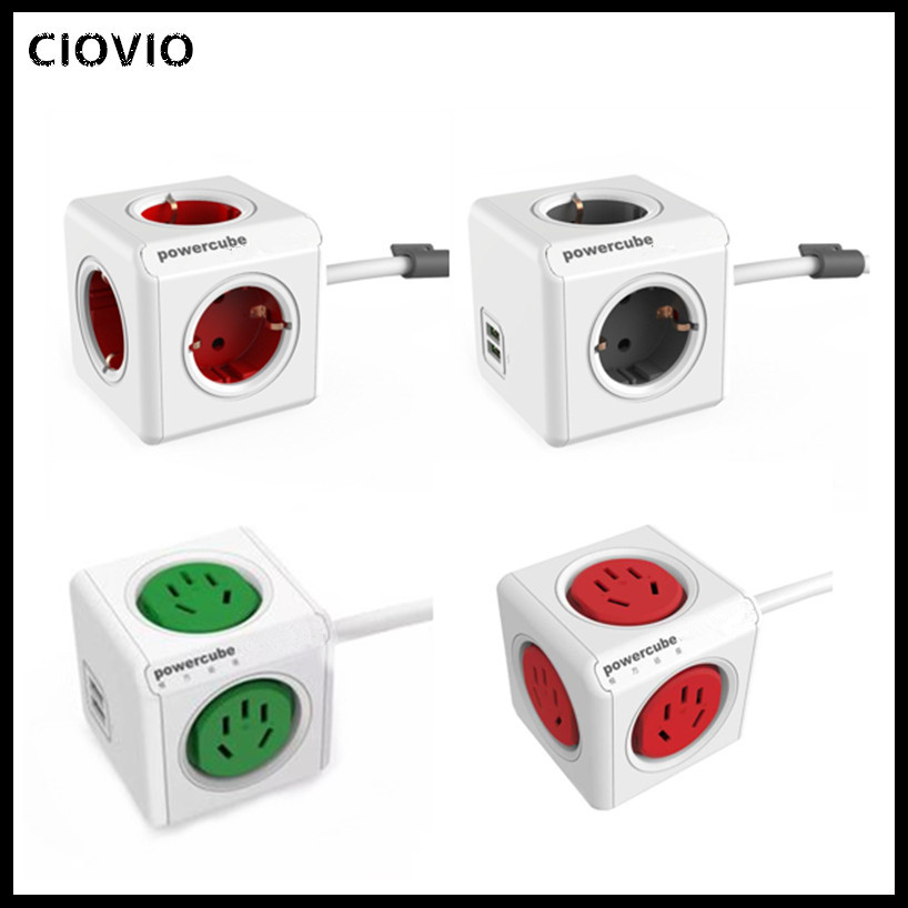 CIOVIO with wire Smart Home Power Cube Socket  CIOVIO Adapter Power Strip Multi Switched Sockets-in Electrical Sockets from Home Improvement
