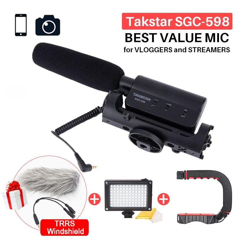 Takstar SGC-598 Fotografia Entrevista Shotgun MIC Microfone para Nikon Canon DSLR Camera DV Camcorder para Vloggers/Videomaker